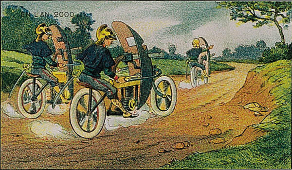 l'an 2000 imagine en 1900 cyclistes