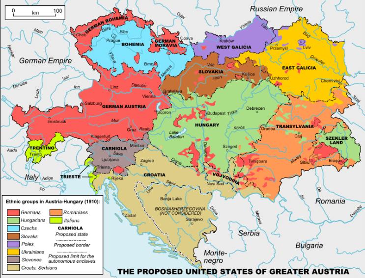 habsbourg nationalités ethniques carte