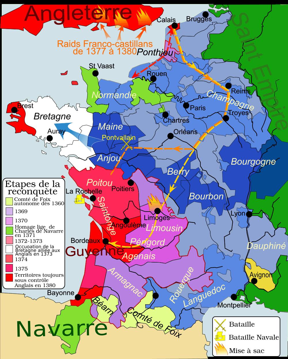 guerre de cent ans carte reconquête charles v