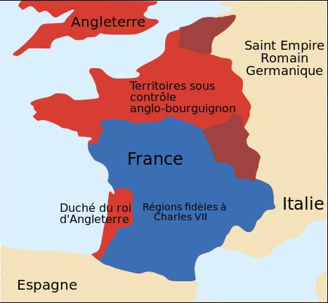 carte de france guerre de cent ans