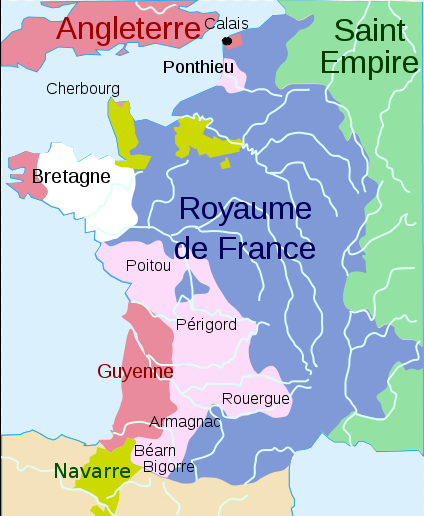 Carte de France guerre de cent ans