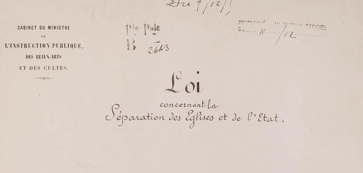loi 9 decembre 1905 laicite