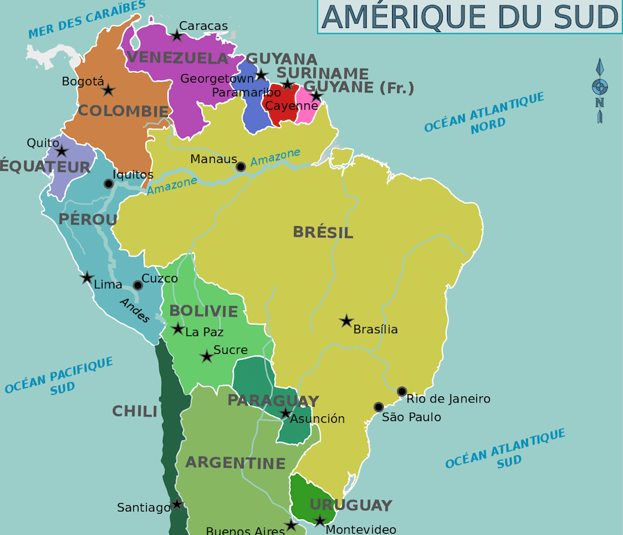 plus grands pays monde carte bresil